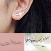 Wholesale Pair Silver Gold Plated Stars Element Crystal Pearl Earrings Ear Hook For Women Girl Stud Earrings Jewelry Er794