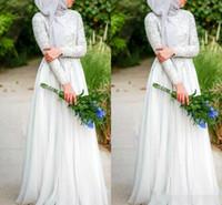 islamic wedding dress - 2016 Muslim Wedding Dresses With Hijab A Line Beaded Crystals High Neck Long Sleeve Chiffon Islamic Bridal Gowns Plus Size
