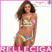 Wholesale 2015 New RELLECIGA Full Lined Palm Pattern Bandeau Top Bikini Set Swimsuit Swimwear with a Sexy Open V Wire at Center Front