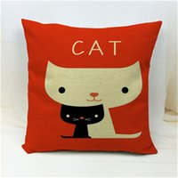 Wholesale New Arrival Nordic Style Cartoon Cat Printed Cushion Cover Home Decor Pillow Throw Linen Cotton Cojines Fundas Square Almofadas Cojines