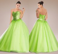 masquerade dresses - 2015 Masquerade Ball Gowns Quinceanera Dresses with Beaded Crystals Sweetheart Lace Up Ruffle Organza Floor Length Green Prom Dress CGL604