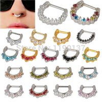 rainbow vacuum - fashion nose clicker body piercing jewelry black dark blue rainbow steel gold vacuum plating nose septum