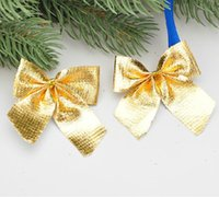 Wholesale christma ornament crafts The Christmas tree accessories gift cm gold cloth bowknot g