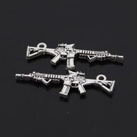antique rifles - Automatic Rifle charm pendant mm antique silver fit bracelet necklace diy metal jewelry making