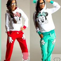Wholesale Womens Girl Mickey Minnie Mouse Ear Sleeve Shirt Hoodie Set Sweatshirt Top Pant sets