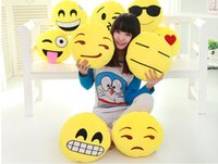 Wholesale Cushion Lovely Emoji Smiley Shits pillows Cartoon Facial QQ Expression Cushion Pillows Yellow Round Pillow Stuffed Plush Toy B216