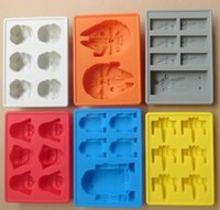 Wholesale 6 designs Star Wars Storm Trooper Darth Vader Helmet Kitchen Silicone Tray Ice Cube Jelly Chocolate R2D2 Cake Mould Tools