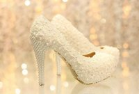 Wholesale Ivory beautiful Vogue lace Pearl High Heels Wedding Bridal Shoes