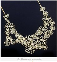 Wholesale Hot selling new statement necklace Multilayer gold hollow flowers statement necklaces for women choker necklace l0083