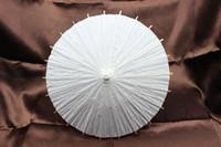 bamboo diameter - New small white paper parasols Children DIY umbrellas Chinese craft umbrella Diameter inches Long handle Non automatic Drop shipping