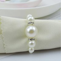 Cheap AAA Quality White Pearls Napkin Rings Hotel Wedding Banquet Table Decoration Accessories Party Supplies Free Shipping