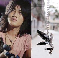 akanishi jin - mgm fashion jewelry long women chain KAT TUN Akanishi Jin JANJI Flower Elf angel black wings crystal girls necklaces