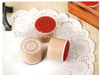 Wholesale gift stamp sweet lace series wood round stamp DHL