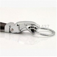 ad zinc - Fashion creative High grade leather car Keychain novelty metal trinket chain ring holder Souvenir ad gift ring piercing