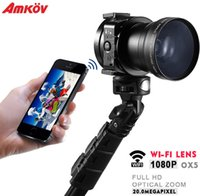 Wholesale 2pcs Genuine AMKOV OX5 Lens Style Camera with X Optical Zoom Photography For Smartphone P MP WiFi Lens One second SLR Camera