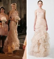best celebrity wedding gowns - Best Selling One Shoulder Organza Ruffle Mermaid Style Blake Lively Bridesmaid Dress Blush Wedding Evening Gowns Prom Celebrity Dress