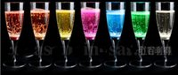 Wholesale 6 CM Liquid active LED Champagne Glass light up LED Flash Champagne Glass Soft Drink Cup LED Flash cup club bar wedding