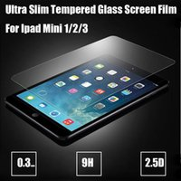 Wholesale Free DHL Ultra thin mm Tempered Glass Screen Protector For IPad mini Air Ipad Pro Screen Protective Film H hardness with Package