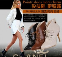 Cheap Women's pointy toe ankle boots women fashion sexy stiletto boots Martin boots black beige brown straps women shoes leather