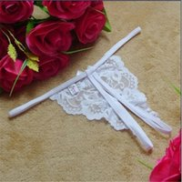 Cheap Wholesale-Free shipping 1pc lot 2015 Ladies Lace Sexy Open Crotch Thongs G-string V-string T-Back Panties Knickers Underwear tanga 4 color