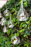 air cylinder mounts - 6PCS set crystal glass teardrop candle holders hanging tea light holder wedding candlestick wedding decor inch air plant terrarium set