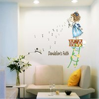 Wholesale PVC Little Girl Blowing Dandelion Wall Stickers Bedroom Decoration Children Wall Decal for Kids Moon Rooms Decor WKG008