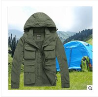 nylon waterproof zipper - brand Men s clothing camping hiking Outdoor Jacket Waterproof Sports outerwear coat for autumn spring AFS JEEP men jacket detachable M XL