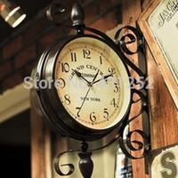 Wholesale Wrought Iron Double Face Clock On Wall Moderne Clocks Quartz Watch Vintage Home Design Decor For Living Room Horloge Murale