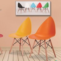 Cheap Creative personality, plastics, wood, plastic Eames chairs tea shop home new Chinese Furniture Hotel Chair