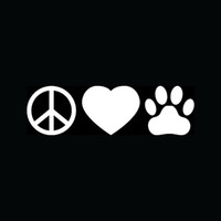 adopt cats - PEACE LOVE PAW Sticker for Car Rear Windshield Vinyl Decal Animal Pet Heart Cat Dog Adopt Hot