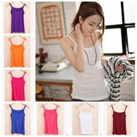 Camis spaghetti strap tank top - 9 Color Women Crop Top Camisole Spaghetti Strap Modal Tank Top Sleeveless Shirt Summer Casual Blouse Elastic Vest Bodycon Top LJJE514 pc