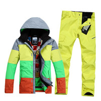 Wholesale 2015 mens ski suit male striped snowboarding skiing suit for men gray green yellow ski jacket and yellow ski pants snow suit set waterproof