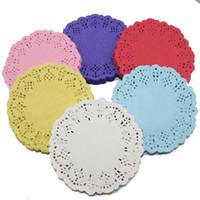 antique doilies - 3 quot mm Vintage Napkin Hollowed Lace Paper Doilies Cake Holder Crafts Paper Doyleys For Wedding Decoration bag