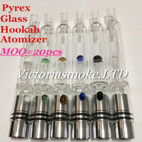 Cheap MOQ=20pcs Pyrex Glass Hookah atomizer vhit atomizer tank Dry Herb Wax Vaporizer herbal vaporizers pen water filter pipe ecig e cigarette