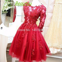 Wholesale Vintage A Line Lace Short Prom Homecoming Dresses With Long Sleeves Tulle Sheer Scoop Applique Beaded Evening Dress Gown Real Photo