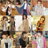 Wholesale Hot Sale Women Scarves Vintage Chiffon Scarves Casual Gorgeous Print Scarf Shawl Wrap Color