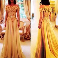 Wholesale Charming A Line Long Sleeve Evening Dresses Applique Off The Shoulder Sweep Train Chiffon Evening Gowns Prom Dress