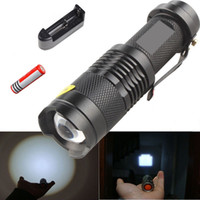 Wholesale Torches LM CREE XML T6 LED Rechargeable Flashlight Torch Zoomable Focus LED Flashlight Battery Free