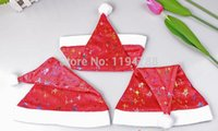 moon chair - With small stars and moon pattern Soft Red and White Fabric Santa Hat Christmas Chair Slip Covers Play Hats smart Christmas hats