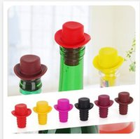 Wholesale Newest Silicone Red Wine Hat Bottle Stoppers Silicone Kitchen Bar Tools Vacuum Sealed For Kitchen Bar Tools Color at Random