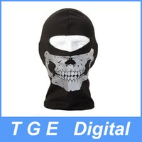Wholesale 10pcs Ghost Biker Skull Hood Face Protective Mask Motorcycle Ski Balaclava CS Sport Helmet Snood