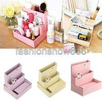 Cheap 2014 Hot Sale 2pcs lot Foldable Mini DIY Paper Board Storage Desk Decoration Stationery Organizer Makeup Cosmetic Box