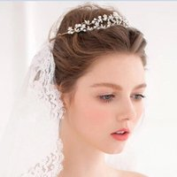 Wholesale Big Promotion Online Brand New Bridal Hair Jewelry Crystal Pearl Tiara Head Band Wedding Party Hair Jewelry Accessoires CPA492 Romantic