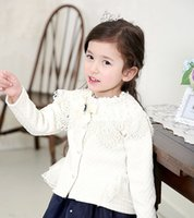 Wholesale 2015 Spring Lace Rhinestone Bowknot Baby Girls Coat Long Sleeve Buttons Children Girls Princess Outwear COCORIBBON Child Clothes White L2161