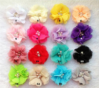 Cheap 6CM 24PCS 16COLORS fashion baby Chiffon hand sewn cloth flower Hair flowers,baby hair bands without clips,hair accessories