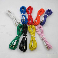 Wholesale 3 mm Audio Cable Colorful M FT Fabric Braided AUX Stereo Auxiliary Car Audio Cables Male to Male for iPhone s s Samsung HTC MP3