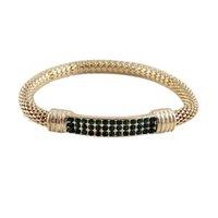 Wholesale Gold Color Alloy Rock Weaving Multicolor Rhinestone Elastic Bracelets Bangles For Women and Men