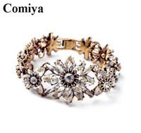 10k gold bracelet - 2015 Bohemian Fashion transparent Color stones k gold plated Flower Charm Bracelet Bangle Women luxury bracelets