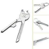 Cheap 10Pcs Lot Swiss + Tech Utili Key Outdoor 6 in 1 Mini MultiTool Portable Key Ring Survival Knives Pocket Folding Knives 00736