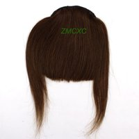 Wholesale High Quality Straight Clip In on Bang Fringe Remy Human Hair Extensions Medium Brown